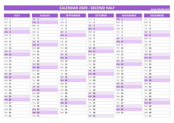 Blank calendar for second half 2020