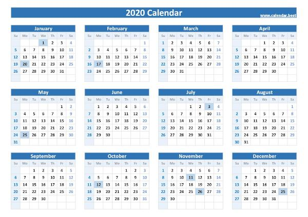 2020 calendar with holidays.