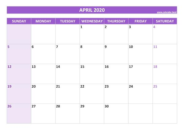 Monthly calendar with holidays : April 2020