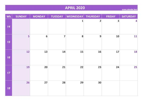 Monthly calendar with week : April 2020