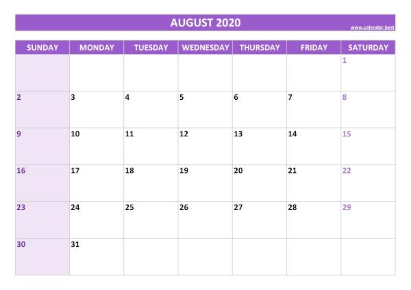 Monthly calendar with holidays : August 2020
