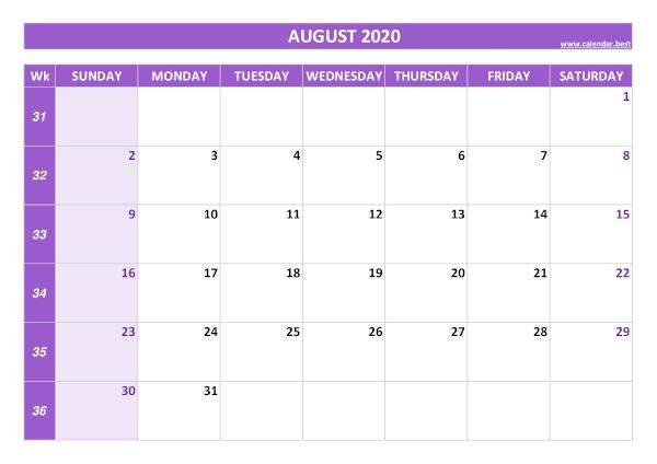 August calendar 2020 with week numbers