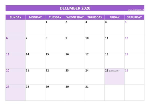 Monthly calendar with holidays : December 2020
