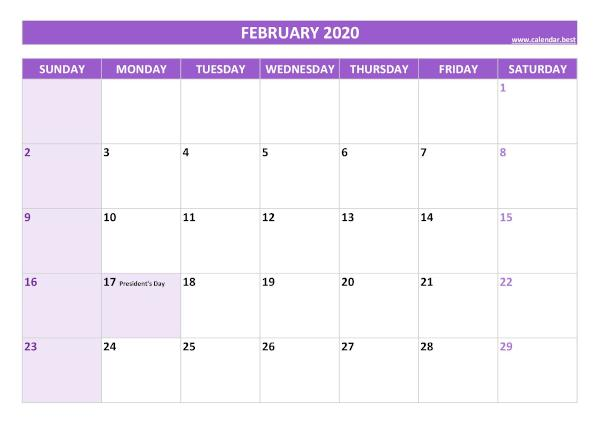Monthly calendar with holidays : February 2020
