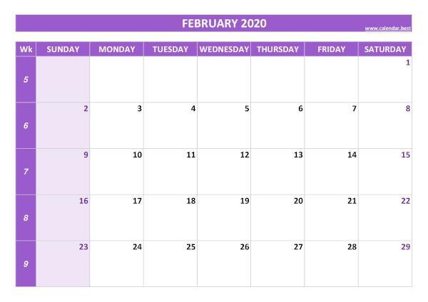 Monthly calendar with week : February 2020
