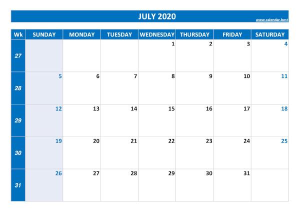July calendar 2020 with week numbers