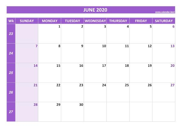 Monthly calendar with week : June 2020