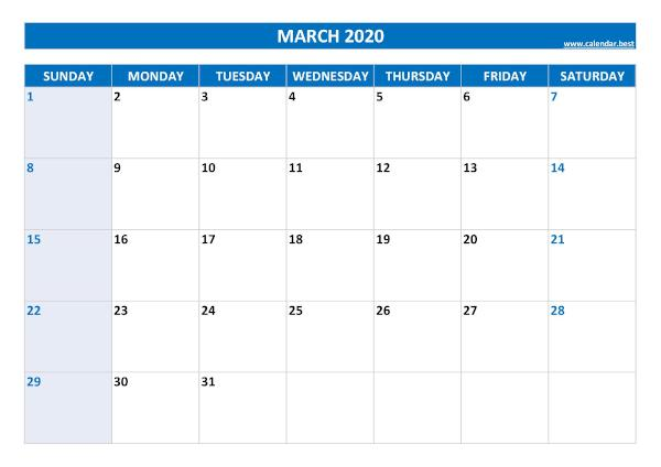 Blank monthly calendar : March 2020