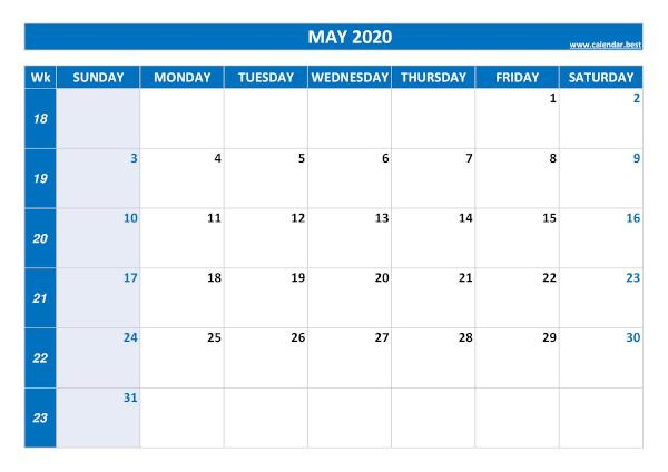 Monthly calendar with week : May 2020