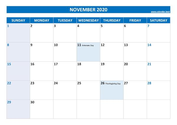 Monthly calendar with holidays : November 2020