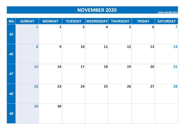 Monthly calendar with week : November 2020