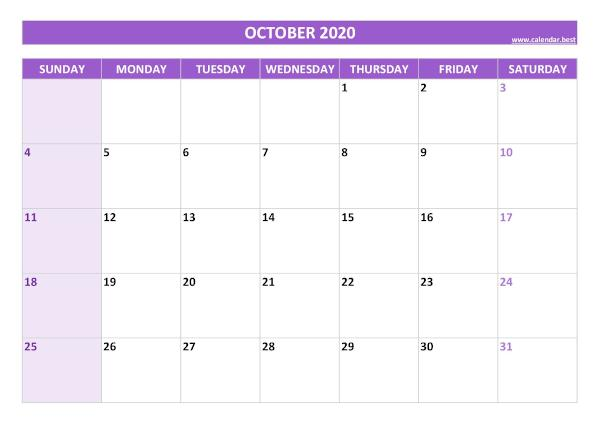 Blank monthly calendar : October 2020