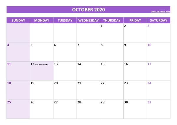 Monthly calendar with holidays : October 2020