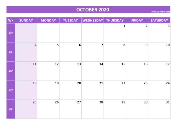 Monthly calendar with week : October 2020