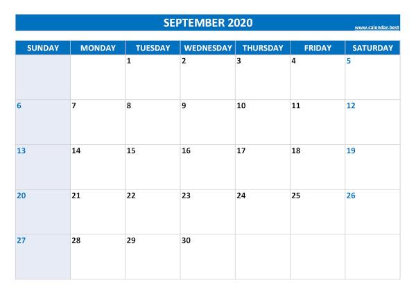 Blank monthly calendar : September 2020