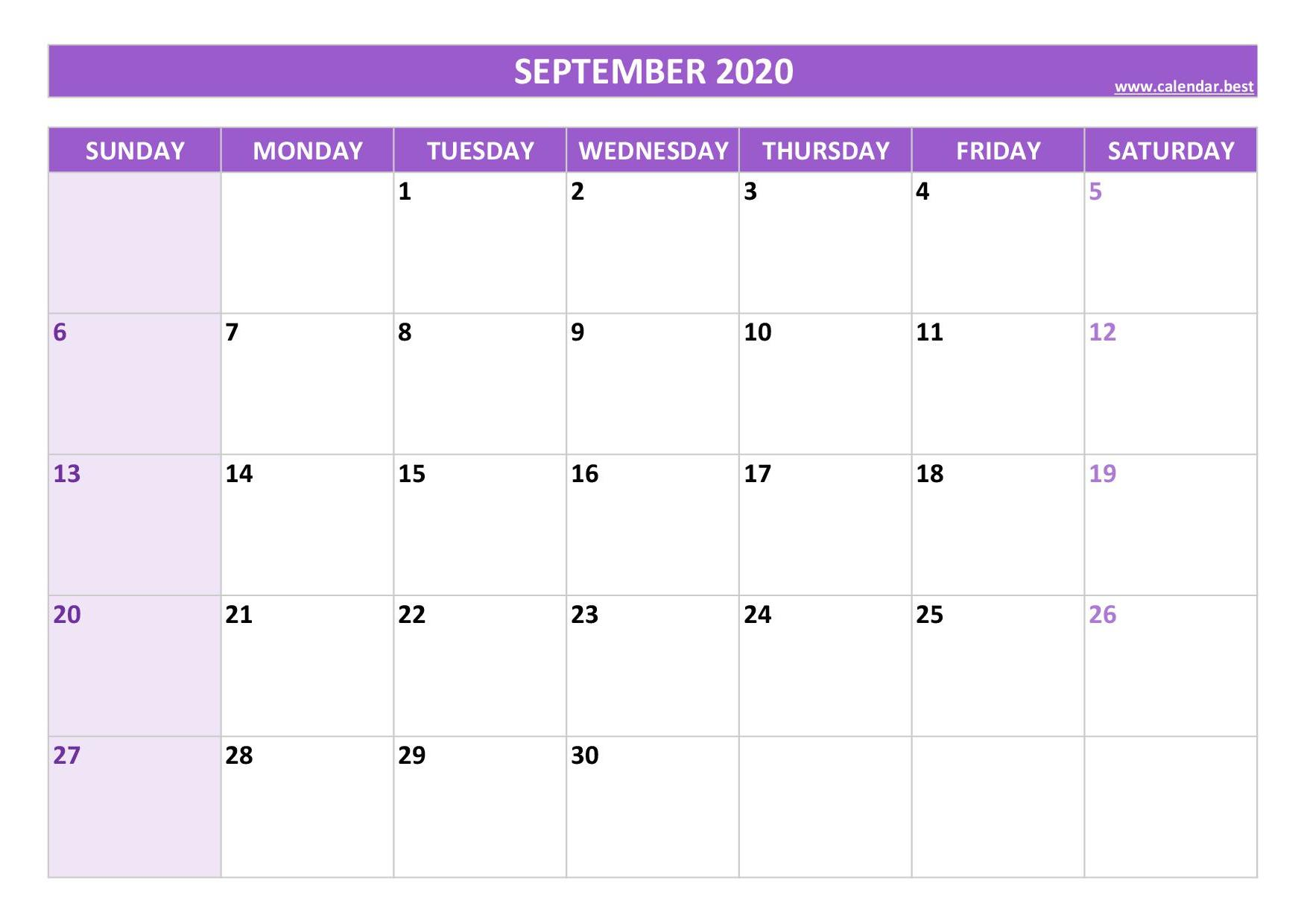 24+ Free Print Calendar September 2020 Pics