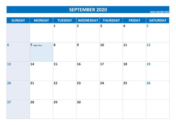 Monthly calendar with holidays : September 2020