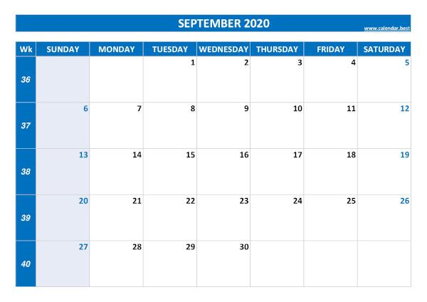 Monthly calendar with week : September 2020