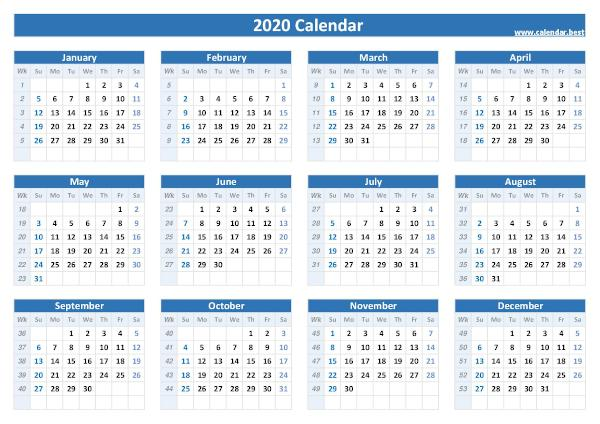 2020 calendar with week numbers.