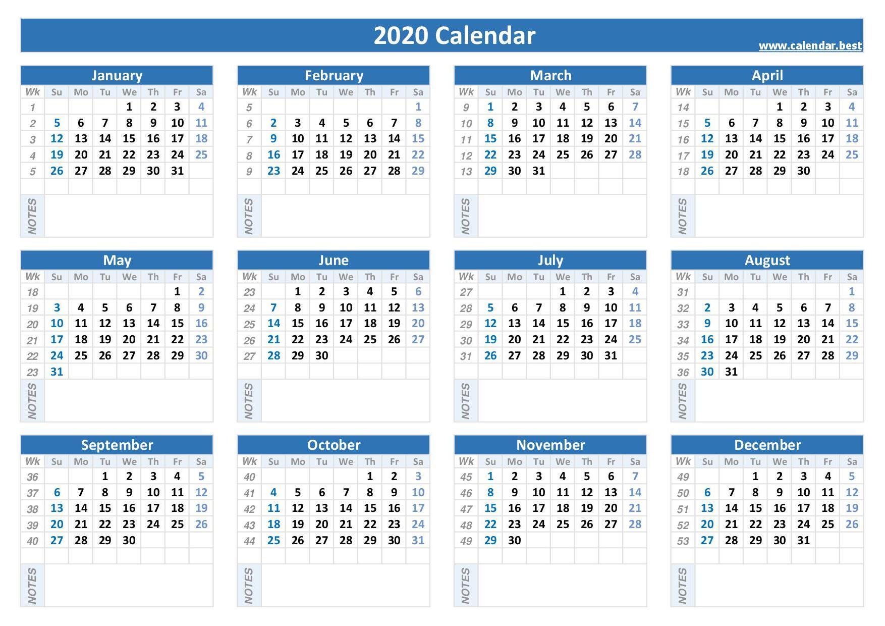 2020 calendar with week numbers calendar best 2020 calendar with week numbers