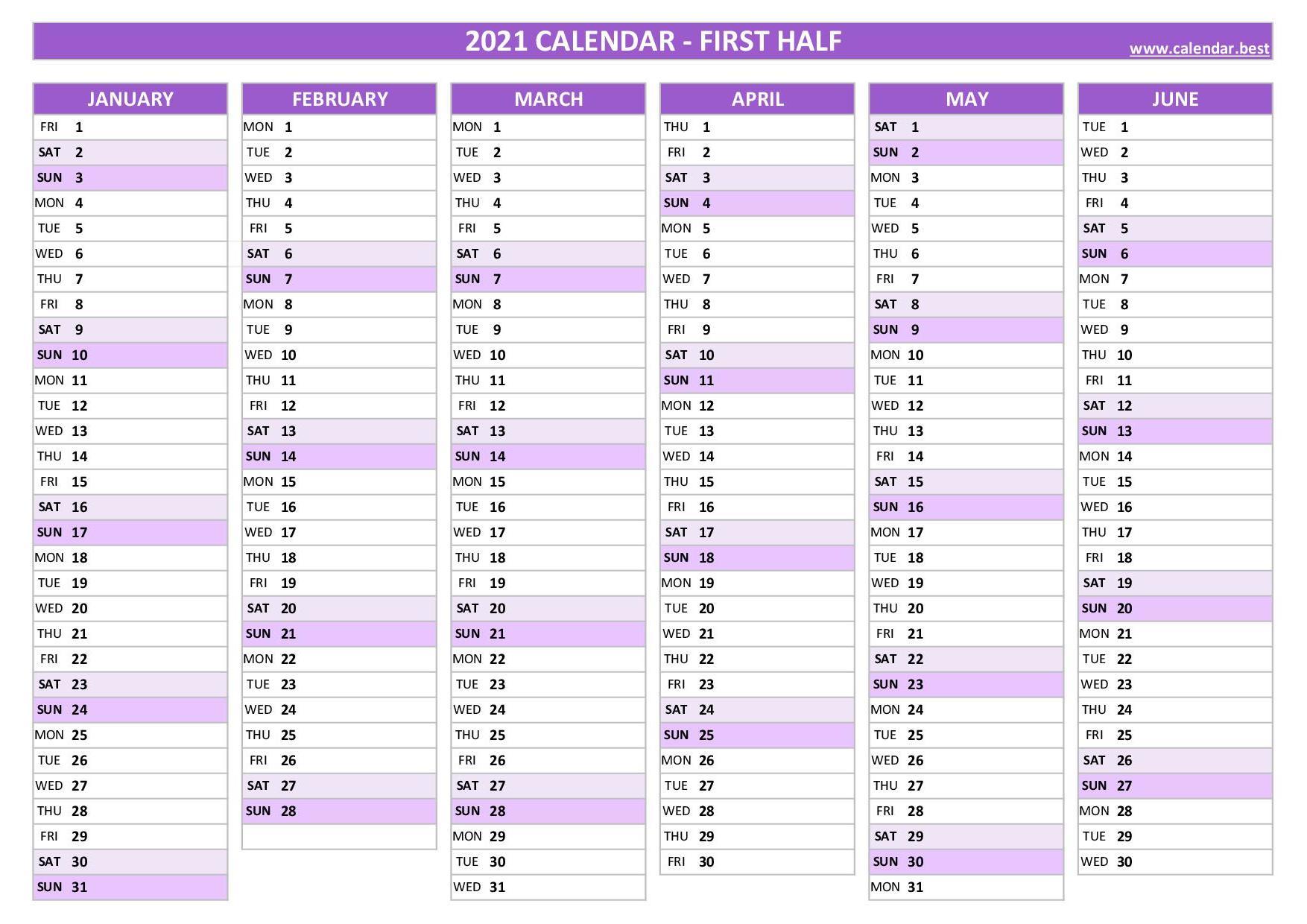 2021 half year calendar -Calendar.best