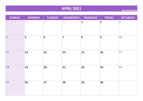 Monthly calendar with holidays : April 2021