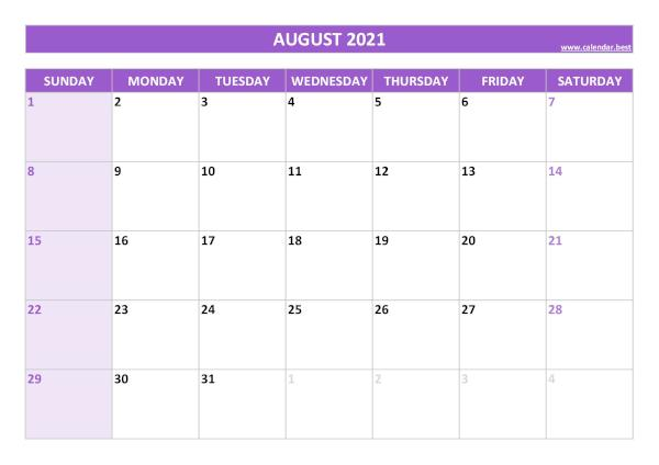 August calendar 2021 with holidays