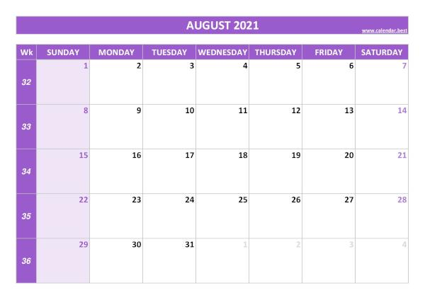 August calendar 2021 with week numbers
