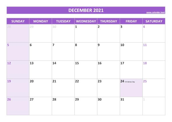 Monthly calendar with holidays : December 2021