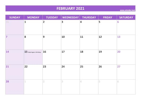 Monthly calendar with holidays : February 2021
