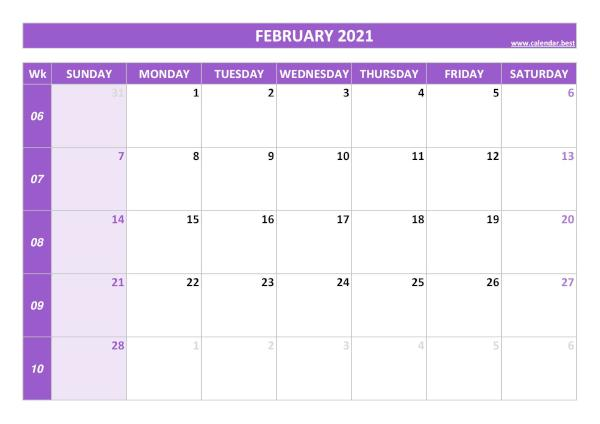 Monthly calendar with week : February 2021