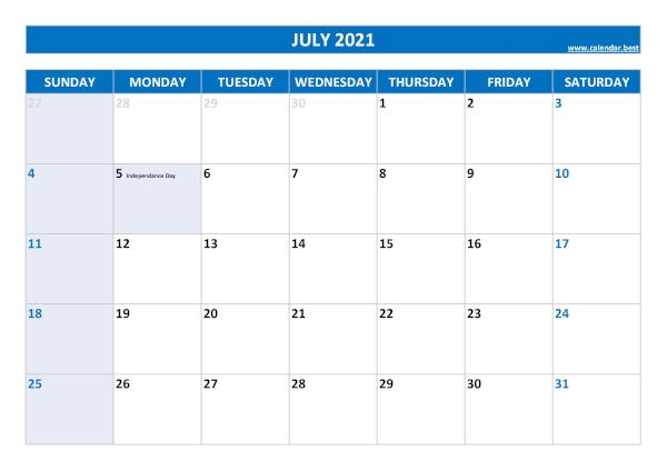 Monthly calendar with holidays : July 2021