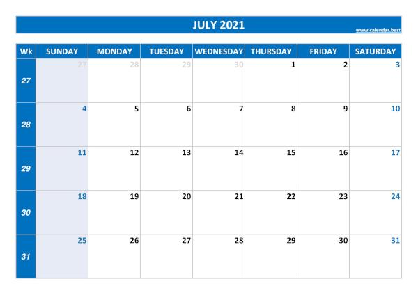 Monthly calendar with week : July 2021