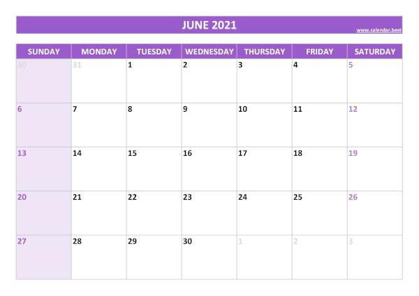 Monthly calendar with holidays : June 2021