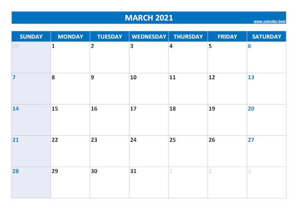 Monthly calendar with holidays : March 2021