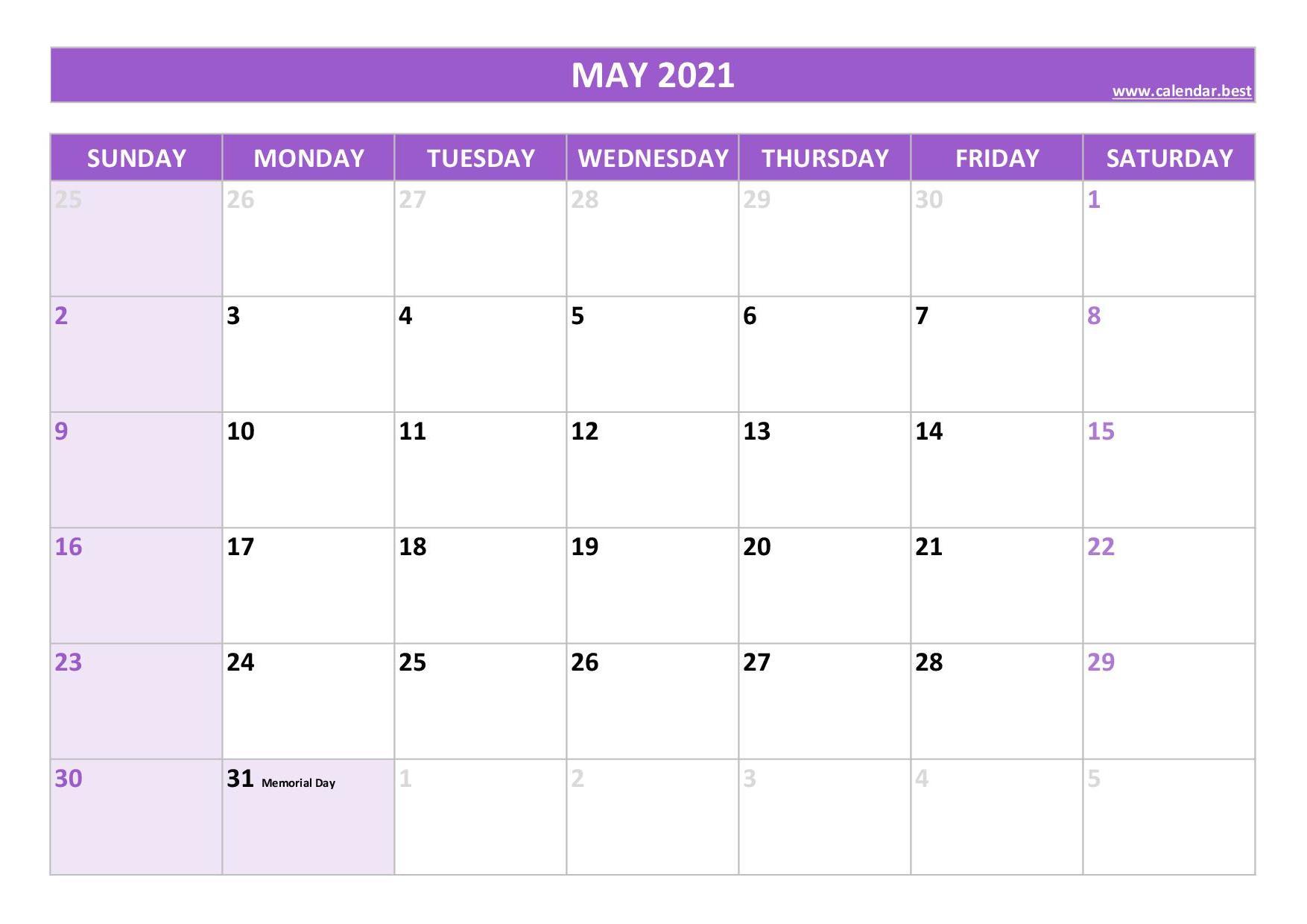 May 2021 calendar -Calendar.best