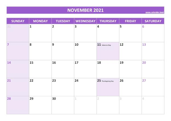 November calendar 2021 with holidays