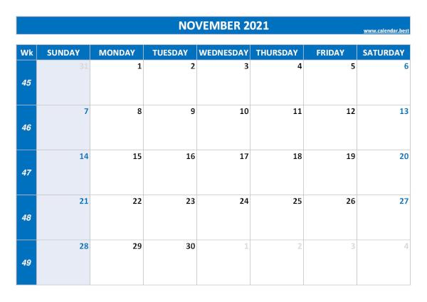 November calendar 2021 with week numbers