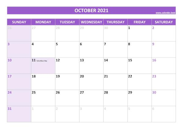 Monthly calendar with holidays : October 2021