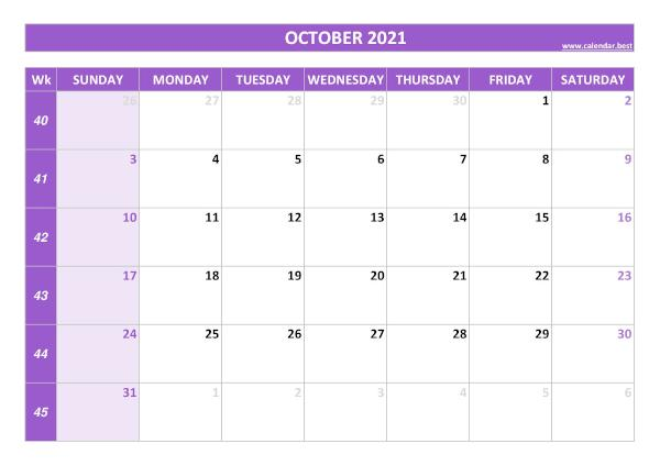 Monthly calendar with week : October 2021