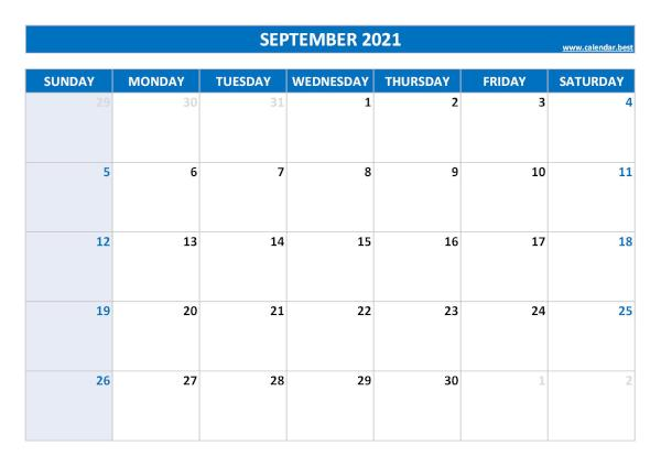 Blank monthly calendar : September 2021