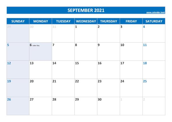 Monthly calendar with holidays : September 2021