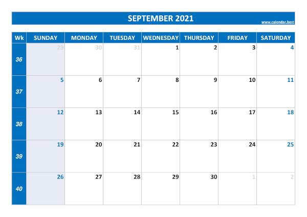 Monthly calendar with week : September 2021