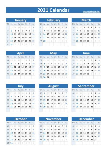 2021 calendar with weeks, blue template