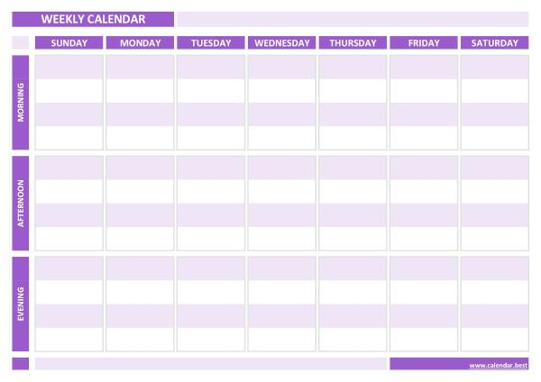 Weekly calendar printable (purple template)